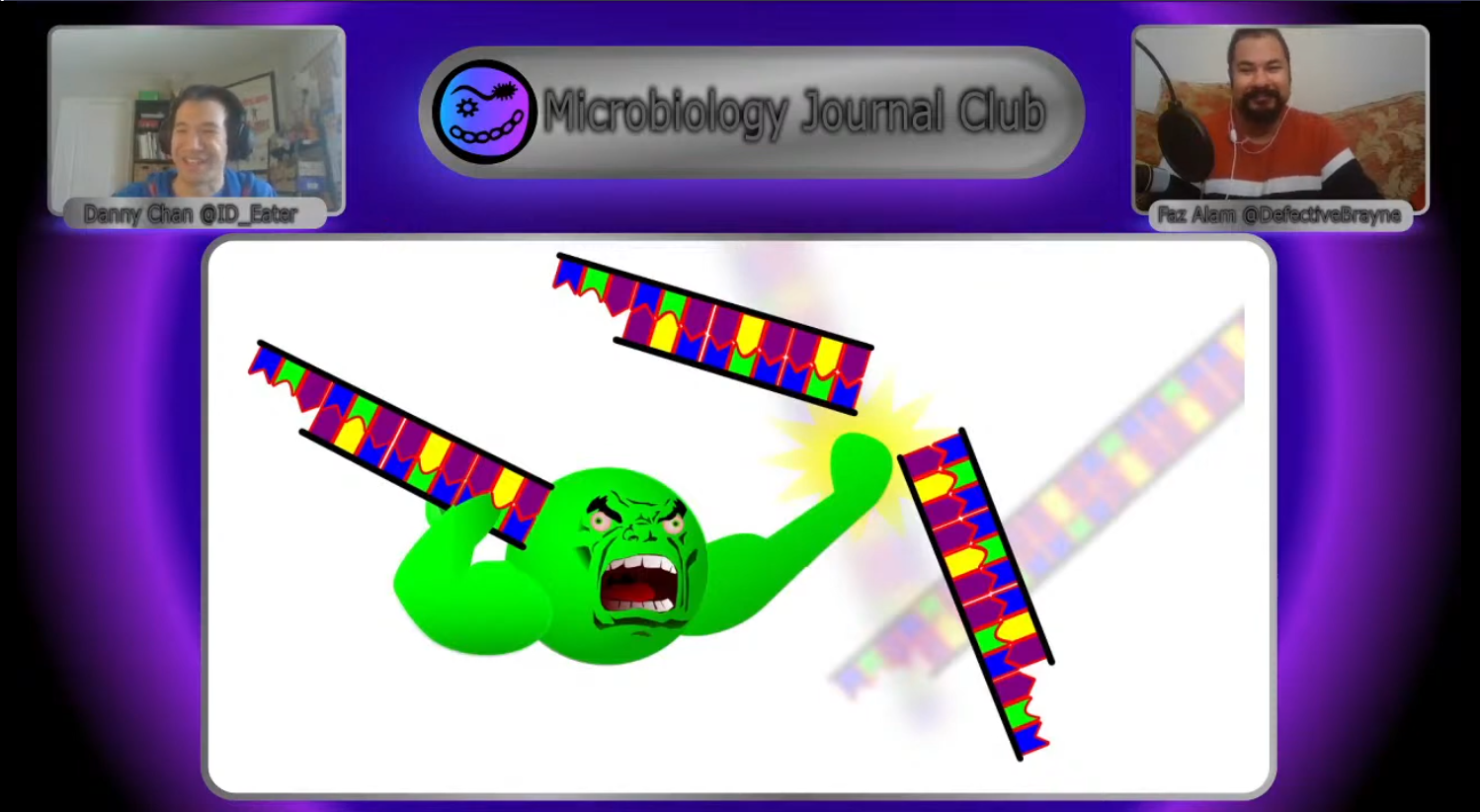 Still of a episode of #microtwjc showing a angry enzyme breaking DNA